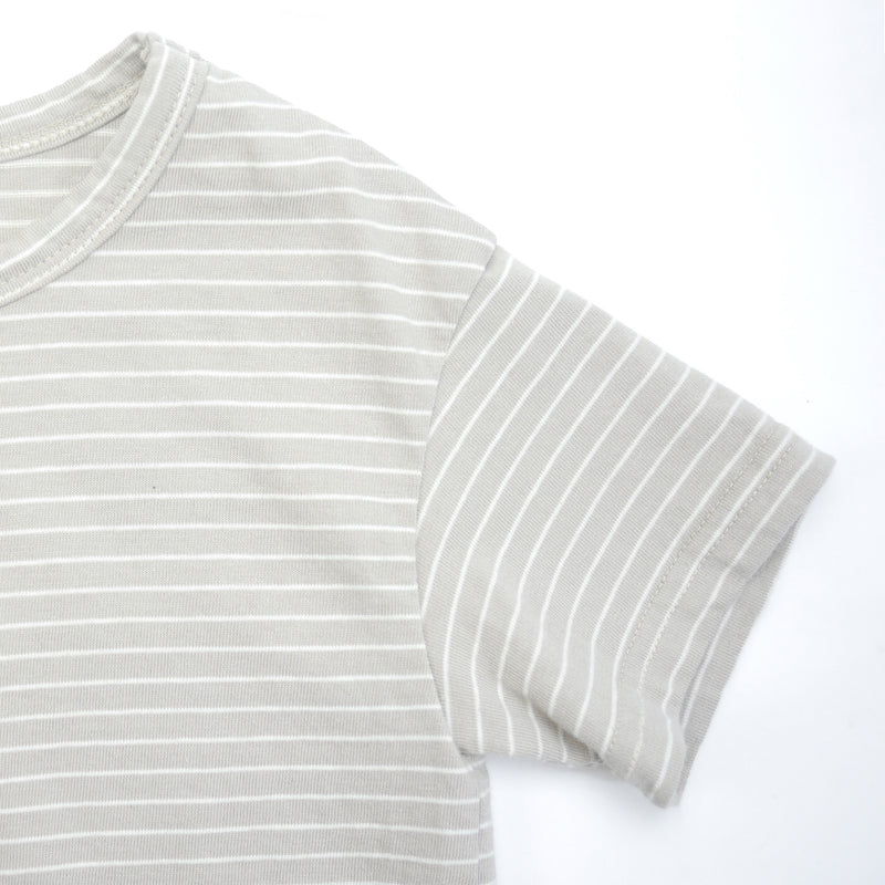 Tori striped beige and white drop shoulder tee for babies and kids sleeve detail