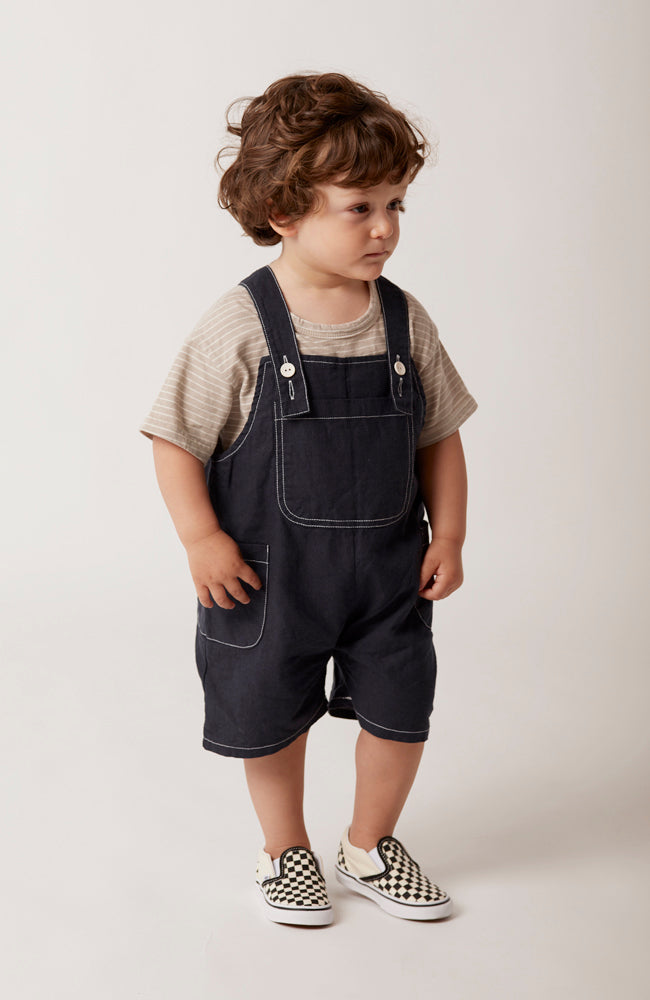 Rowan navy linen overalls for babies and kids front view