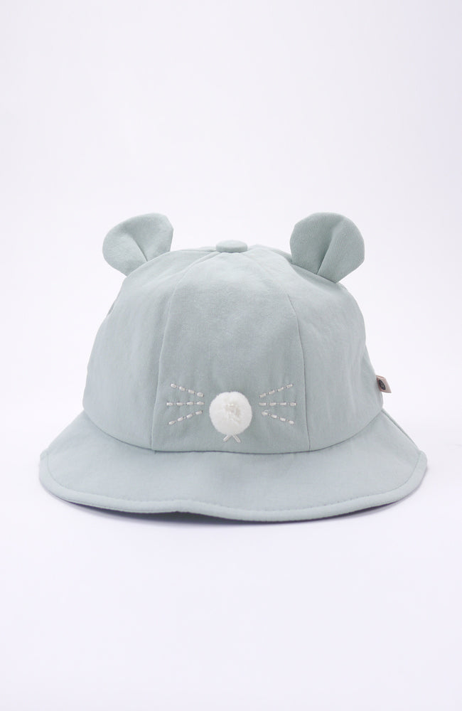 Valentina light blue cotton denim bucket hat with ears and nose for babies and kids front view