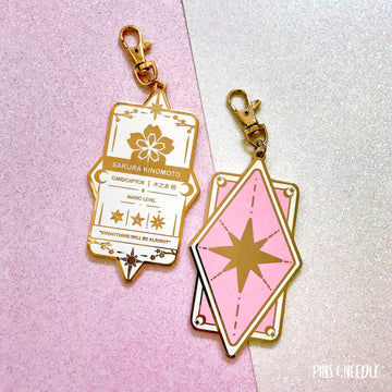 Sakura Badge - Bag Charm - White/Pink
