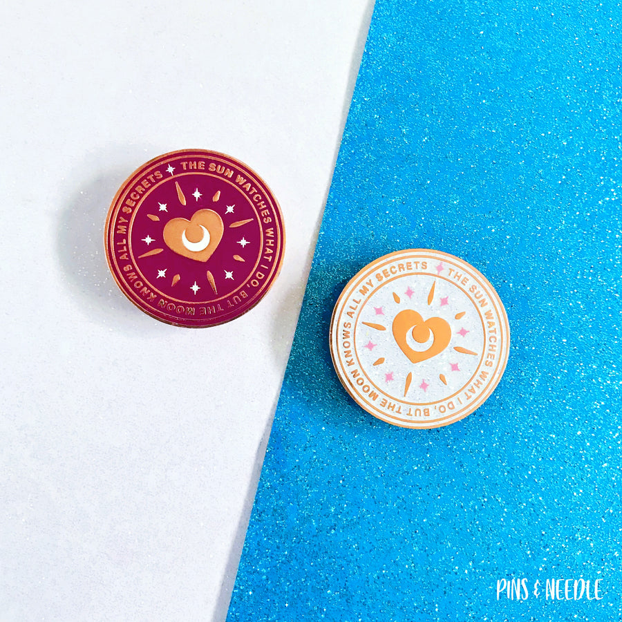 Shining Heart - White Glitter Variant | Hard Enamel Pin
