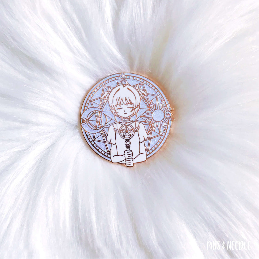 Sakura Love Card - Murdered Out White w. Iridescent Glitter | Hard Enamel Pin