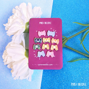Moon & Star Bow Set | Mini Enamel Pins