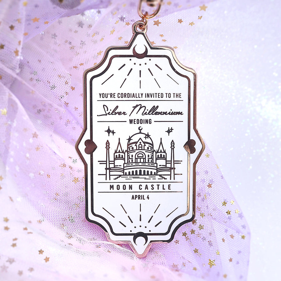 Silver Millennium Wedding Invite - Bag Charm - White/Rose Gold
