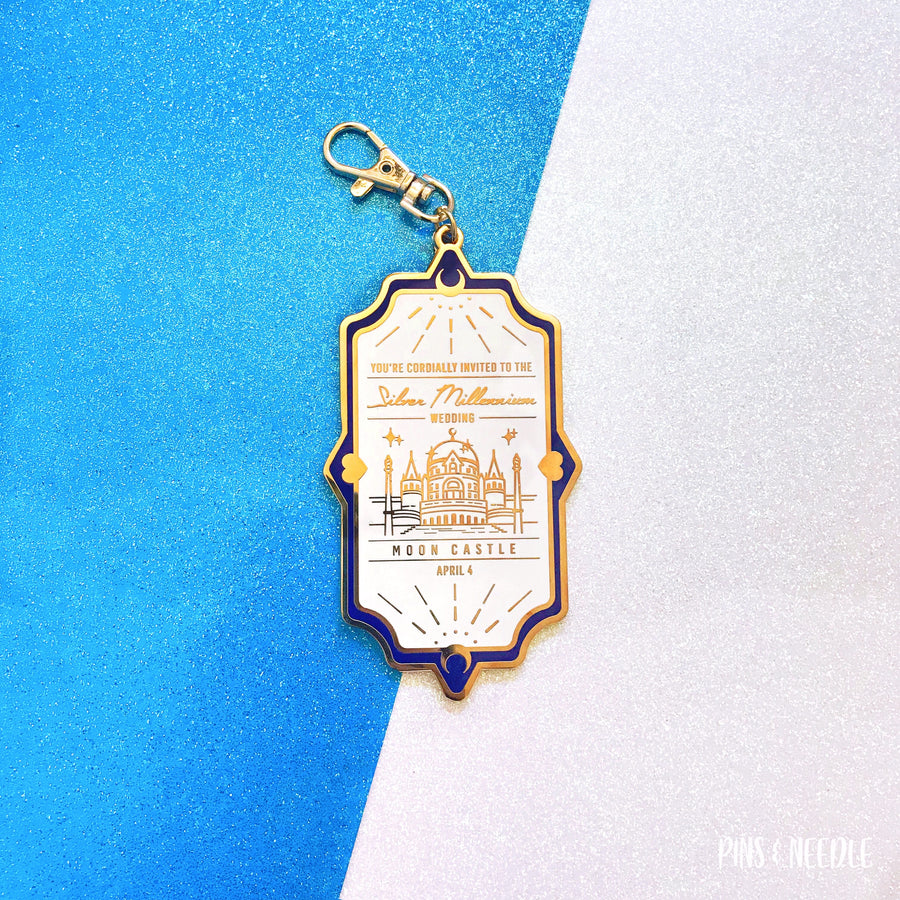 Silver Millennium Wedding Invite - Original Blue | Bag Charm