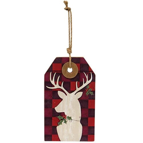 Buffalo Check Reindeer Wooden Tag