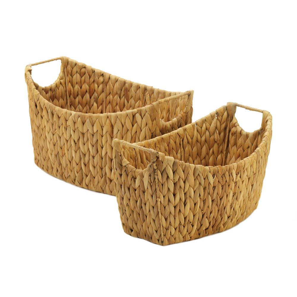 Natural Water Hyacinth Oblong Baskets - Primrose Creations Shop