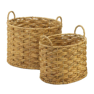 Natural Water Hyacinth Oval Baskets Set - Primrose Creations Shop