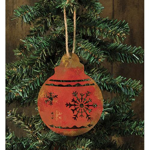Red Bulb Tin Ornament