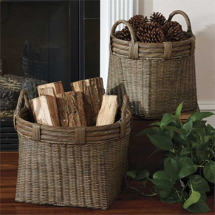 Round Gray Baskets with Handles - Set of 2 - Primrose Creations Shop