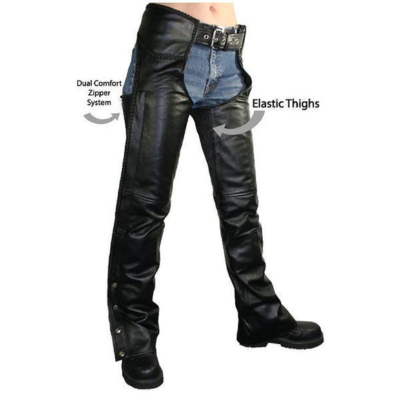 Xelement B7556 Women's Black Braided Zippered Leather Chaps
