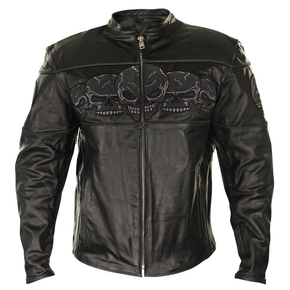 Xelement BXU6050 Men's Black Armored Leather Motorcycle Jacket with Skull Embroidery