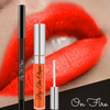 """On Fire"" Long Lasting Red Orange Matte Lip Kit 