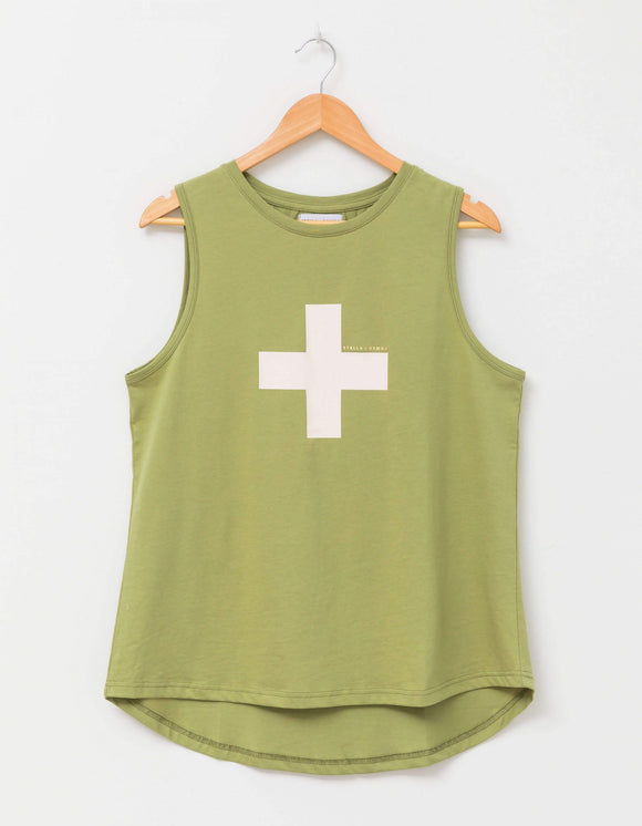 STELLA&GEMMA Olive with Rose Cross Millie Tank