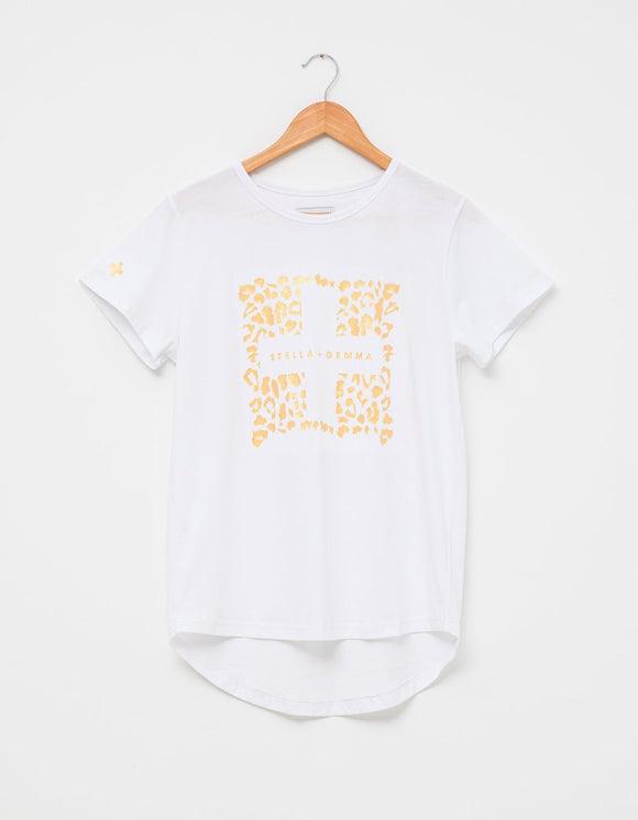 STELLA&GEMMA  White with Gold Leopard T-Shirt