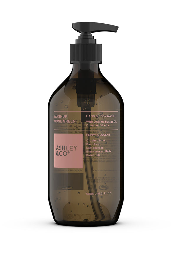 ASHLEY & CO<BR>100% Natural Hand & Body wash <BR> Peppy & Lucent