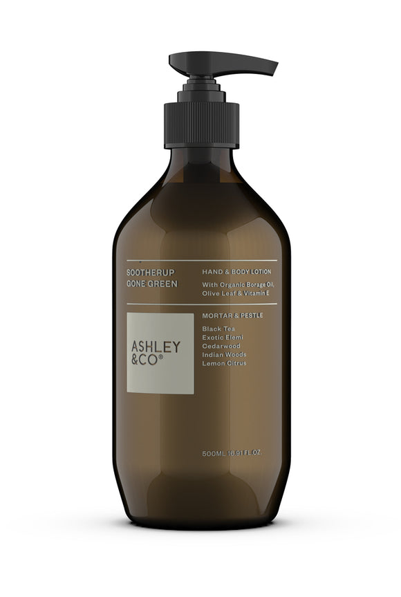 ASHLEY & CO<BR>Sootherup <BR> 100% Natural Hand&Body lotion<BR>Mortar & Pestle