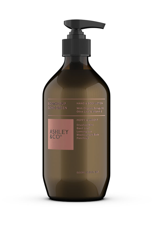 ASHLEY & CO <BR>Sootherup <BR>100% Natural Hand&Body lotion<BR>  Peppy & Lucent