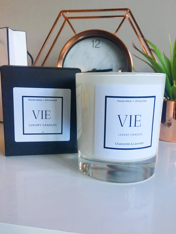 VIE Chamomile & Lavender Glossy White Candle