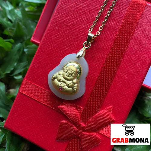 Laughing Buddha Jade Necklace