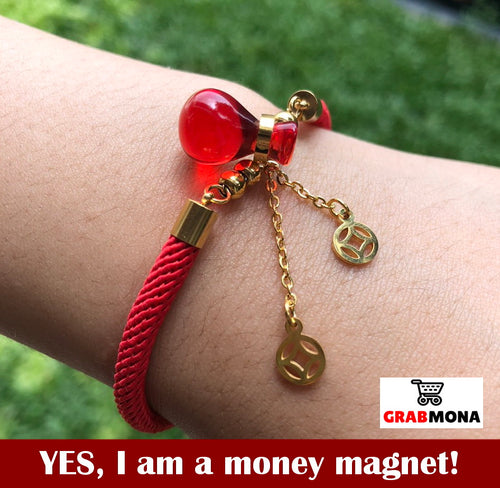 Red Money Bag Bracelet with FREE Necklace