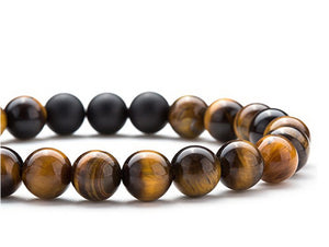 Premium Tiger Eye Bracelet with Black Onyx