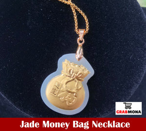 Jade Money Bag Necklace with FREE LUCKY RED STRING