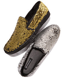 International concepts Flash Mens Sequin Shoe Gold Silver