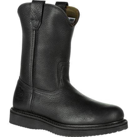 GEORGIA BOOT BLACK WEDGE PULL-ON WORK BOOT