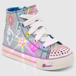 Toddler Girls' S Sport by Skechers Glimmer Stars High top Light-up Sneakers