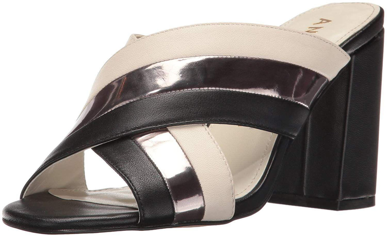 Anne Klein Women's Wileta Leather Mule Black/White