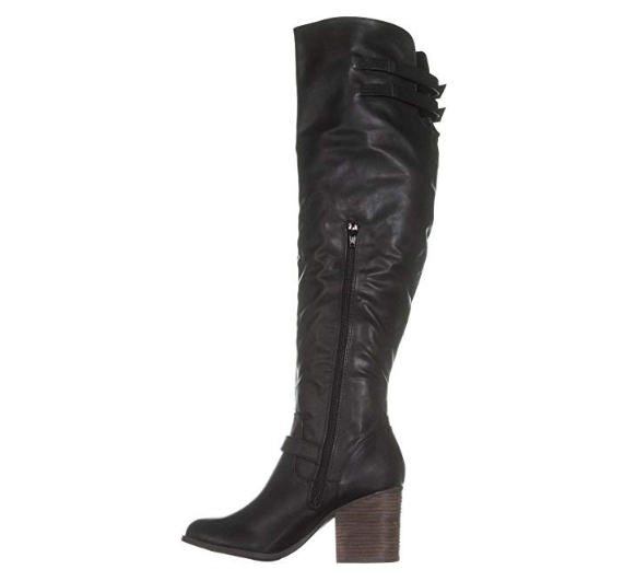 Material Girl Womens Odiana Faux Leather Over-The-Knee Riding Boots