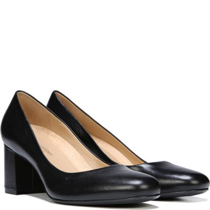 Naturalizer Whitney Black Leather Block Heel