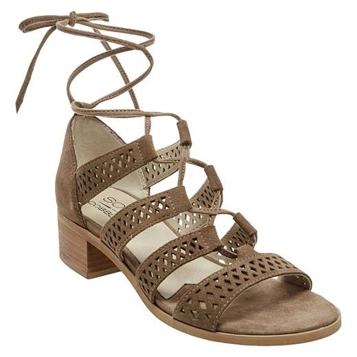 Soho Cobbler Druzy Block Heel Laser Cut Suede Gladiator Sandals 9 / Taupe Soho  kick-it-shoe-outlet.myshopify.com Kick-it Shoe Outlet Shoes Cheap