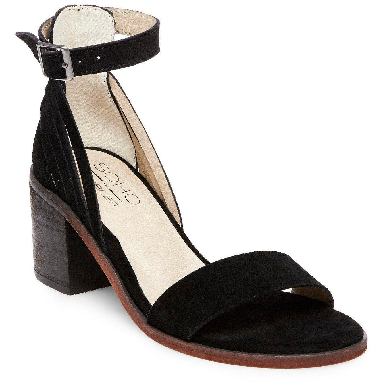Soho Cobbler Serene Suede Quarter Strap Sandals 9.5 / Black Soho  kick-it-shoe-outlet.myshopify.com Kick-it Shoe Outlet Shoes Cheap