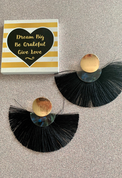 Black fringe fan earrings