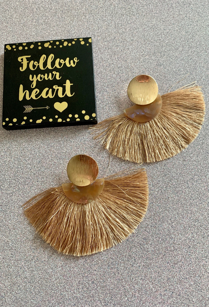 tan fringe tan earrings