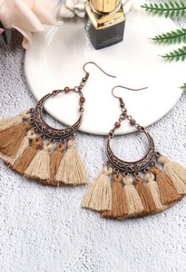 Boho Chic Earrings in tan