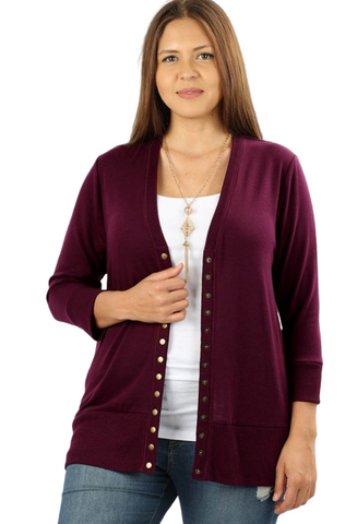 Perfect Sweater Cardigan Dk Plum