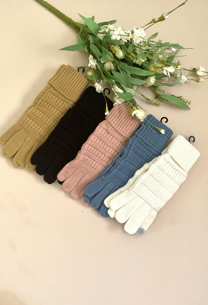 c.c. knitted touch screen gloves