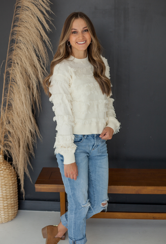 fringe sweater top