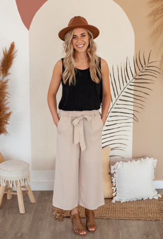 Talia Tencel Tie Waist Pants in Khaki