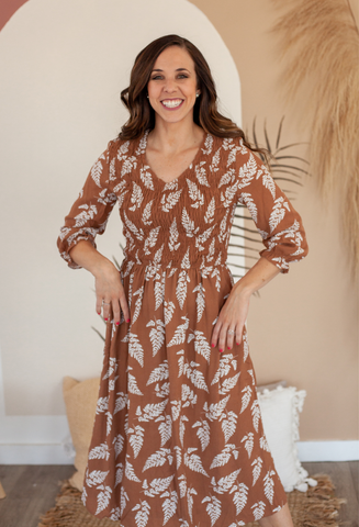 Hazlee Smocked Midi Dress in Mocha