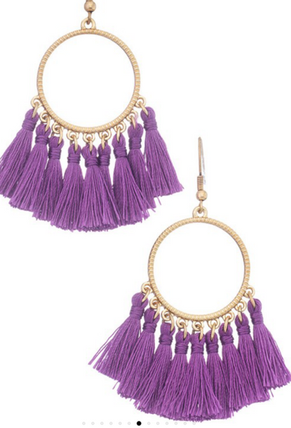 Tassel drop earrings purple circle
