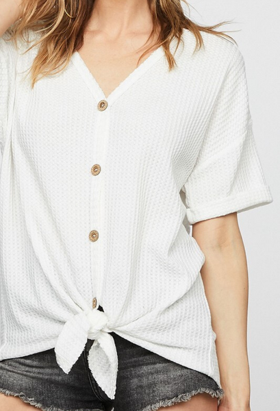 Waffle Button Knit Top
