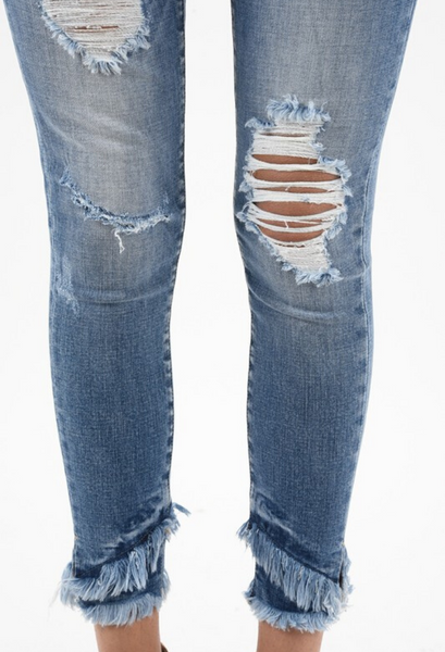 Kan Can Distressed Fringe Jeans