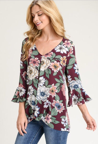 Floral twisted top