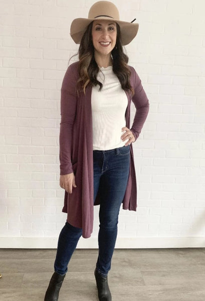 Caraway Duster Cardigan Eggplant