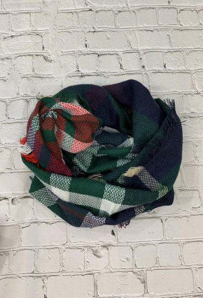 plaid green infinity scarf
