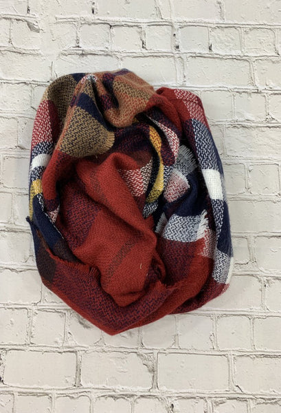 plaid red infinity scarf